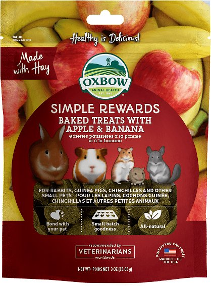 Oxbow Simple Rewards Baked Treats w/Apple & Banana Small Animal Treat - 3 oz Bag
