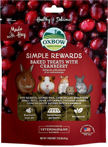 Oxbow Simple Rewards Baked Treats w/Cranberry Small Animal Treats - 3 oz Bag