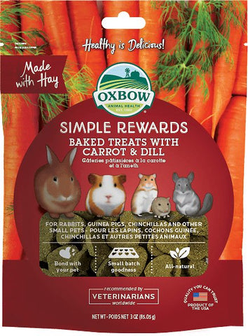 Oxbow Simple Rewards Baked Treats w/Carrot & Dill Small Animal Treat - 3 oz Bag