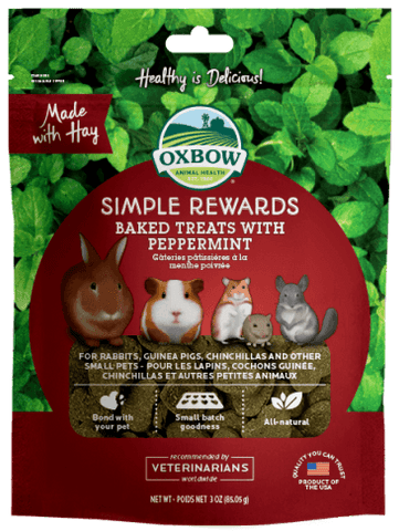 Oxbow Simple Rewards Baked Treats w/Peppermint Small Animal Treats - 3 oz Bag