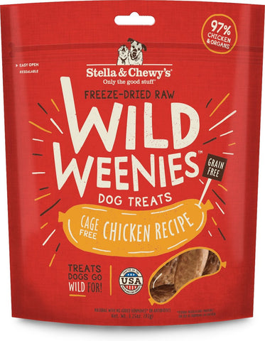 Stella & Chewy's Wild Weenies Chicken Recipe Freeze Dried Dog Treats