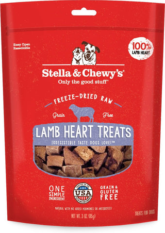 Stella & Chewy's Lamb Heart Recipe Freeze Dried Dog Treats - 3 oz Bag