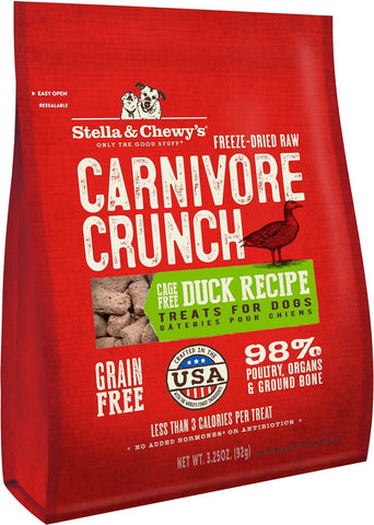 Stella & Chewy's Duck Carnivore Crunch Freeze Dried Dog Treats - 3.25 oz Bag