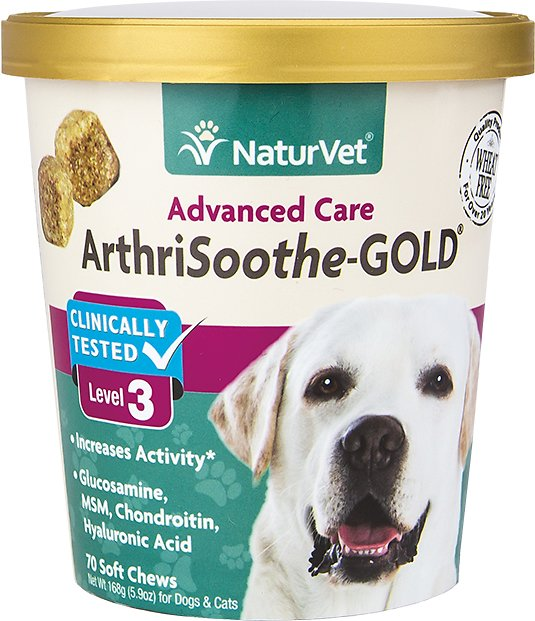 NaturVet Joint Health - ArthriSoothe Gold Level 3 Soft Chew - Small & Med Breeds- 70ct