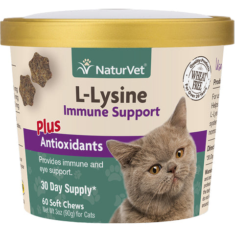 NaturVet Cat Soft Chew L-Lysine Immune Support Plus Antioxidants SC - 60 ct