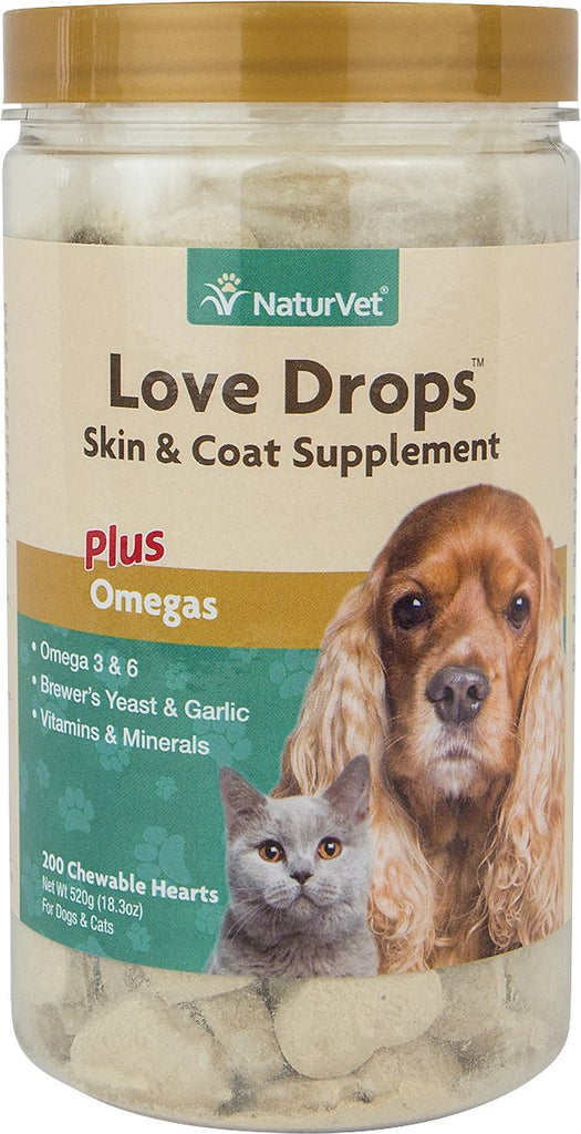 NaturVet Skin & Coat - Love Drops Tablets - Liver/Garlic - 200 count