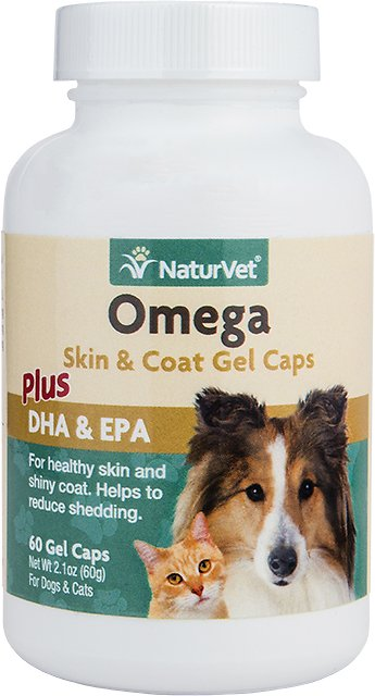 NaturVet Skin & Coat - Omega Gel Caps For Cats & Dogs
