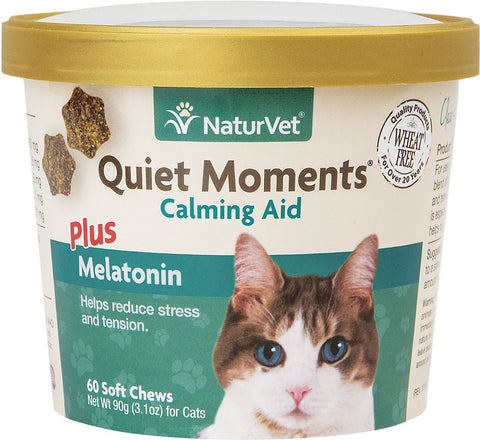 NaturVet Cat Soft Chews Cups - Quiet Moments Plus Melatonin - 60ct