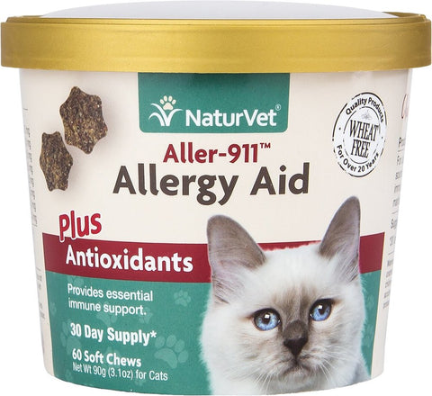 NaturVet Cat Soft Chews Cups - Aller-911 Allergy Aid Plus Antioxidants - 60ct