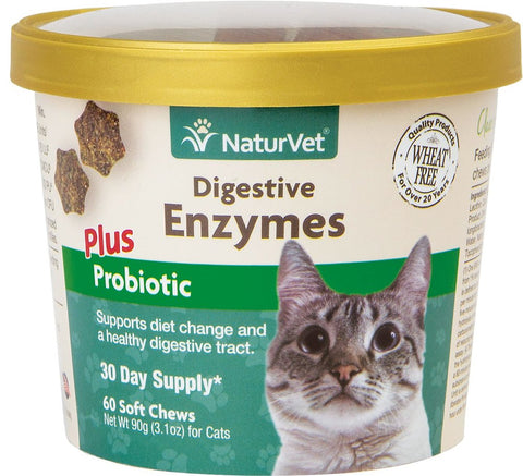 NaturVet Cat Soft Chews Cups - Digestive Enzymes Plus Probiotic - 60ct
