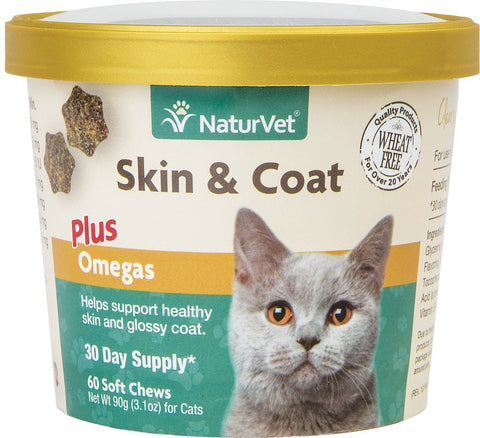 NaturVet Cat Soft Chews Cups - Skin & Coat Plus Omegas - 60 ct