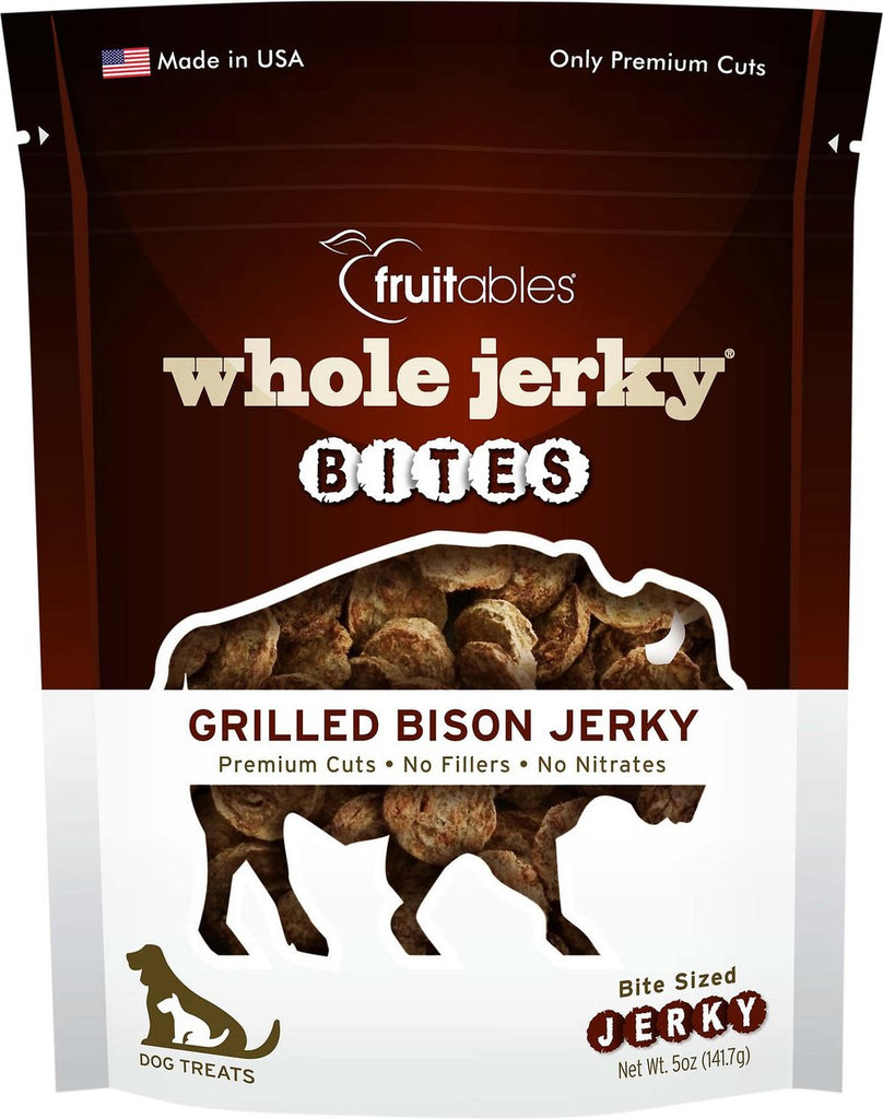 Fruitables Jerky Bites Grilled Bison Dog Treats - 5 oz Bag