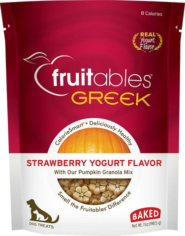 Fruitables Crunchy Greek Strawberry Yogurt Flavor Dog Treats - 7 oz Bag