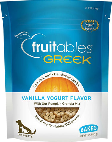 Fruitables Crunchy Greek Vanilla Yogurt Flavor Dog Treats - 7 oz Bag
