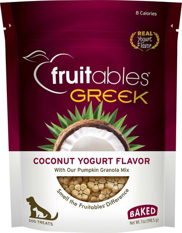 Fruitables Crunchy Greek Coconut Yogurt Flavor Dog Treats - 7 oz Bag