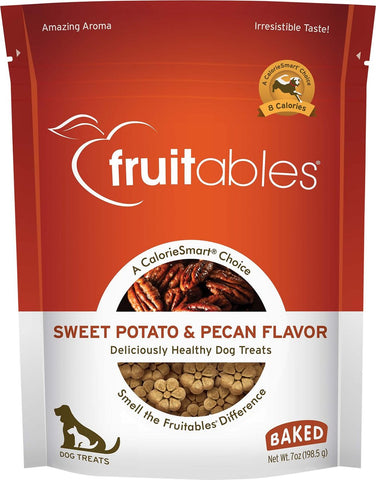 Fruitables Crunchy Sweet Potato & Pecan Flavor Dog Treats -  7 oz Bag