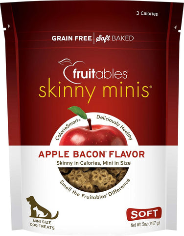 Fruitables Skinny Minis Soft & Chewy Apple & Bacon Flavor Dog Treats - 5 oz Bag