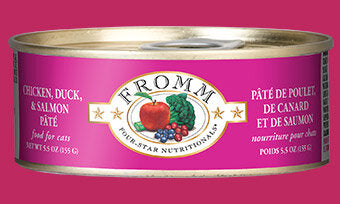 Fromm Family Chicken, Duck, & Salmon Pâté Canned Cat Food - 24/5.5 oz Cans