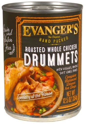 Evanger's Grain-Free Hand Packed Roasted Whole Chicken Drummets 12 pk cans/12.5 oz