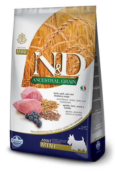 Farmina N&D Ancestral Grains Lamb & Blueberry Recipe Adult Dog Food - Small Breed Adult