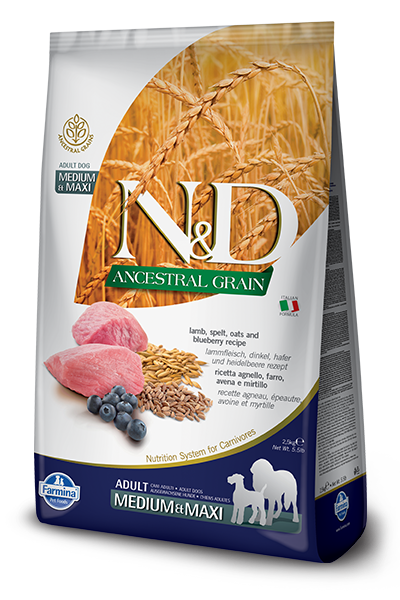 Farmina N&D Ancestral Grains Lamb & Blueberry Recipe Dog Food - Med/Large Breed Adult