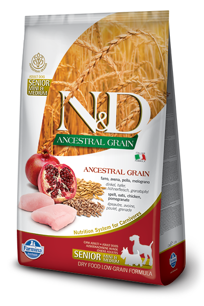 Farmina N&D Ancestral Grains Chicken & Pomegranate Recipe Dog Food - Small/Med Breed Senior