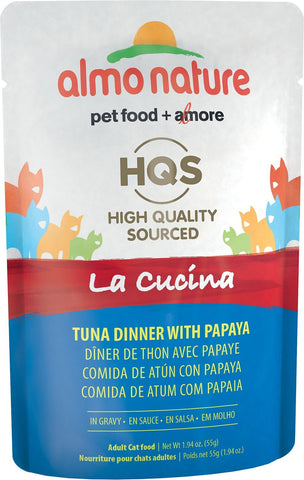 46247 Almo Nature USA HQS La Cucina Pouch Tuna with Papaya in Gravy 24/1.94oz