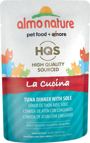 46250 Almo Nature USA HQS La Cucina Pouch Tuna with Sole in Jelly 24/1.94oz