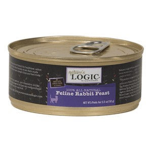 Nature's Logic Feline Rabbit Feast Cat Food 5.5 oz Cans, Case of 24