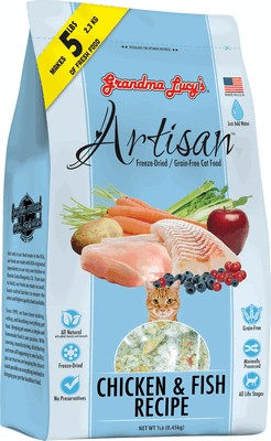 Grandma Lucy's Aritsan Grain Free Freeze Dried Chicken & Fish Cat Food 1 lb Bag