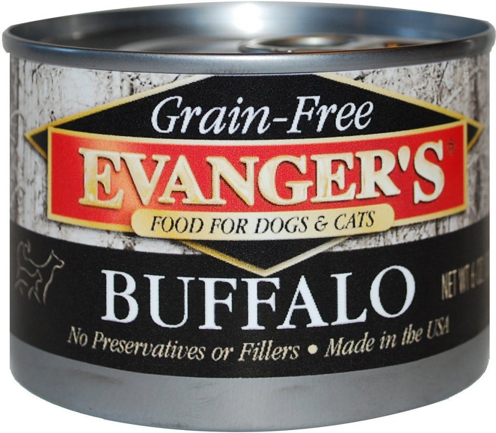 Evanger's Grain-Free Buffalo Dog & Cat Food 24 pk cans/6 oz