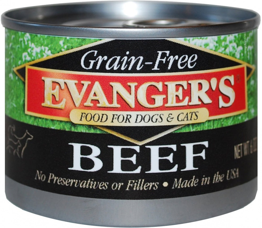 Evanger's Grain-Free Beef Dog & Cat Food 24 pk cans/6 oz