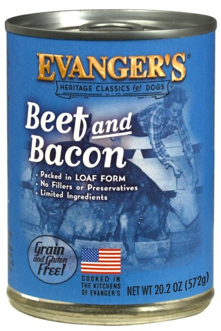 Evanger's All Meat Heritage Classics Beef & Bacon Grain-Free Canned Dog Food 12 pk/12.8 oz