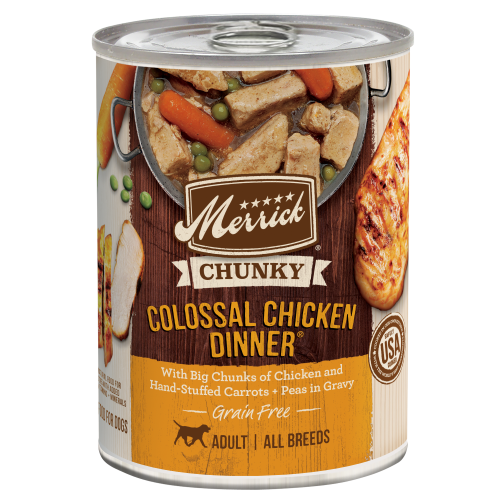 Merrick Chunky Grain Free Colossal Chicken Dinner Canned Dog Food 12 pk/ 12.7 oz cans