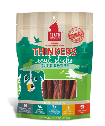 Plato Pet Treats Thinkers Duck Sticks