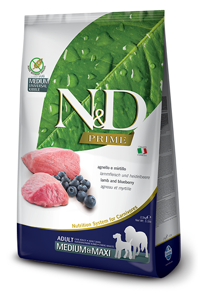 Farmina N&D Prime Canine Lamb & Blueberry Adult Kibble - Med/Large Breed