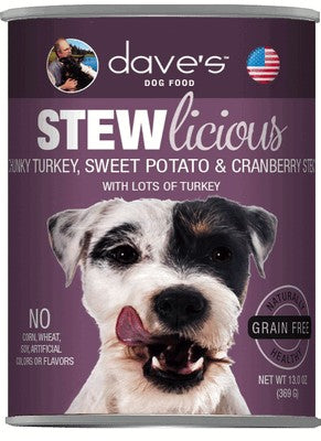 Daves Pet Food Stewlicious Chunky Turkey, Sweet Potato & Cranberry Stew 12/13oz
