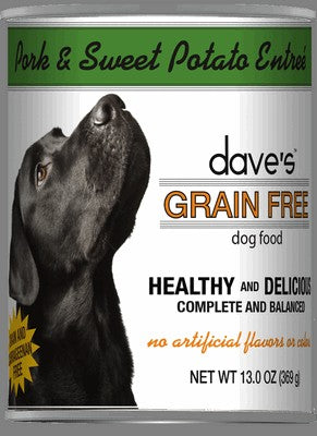 Daves Pet Food Grain Free Roasted Pork and Sweet Potato Entree 12/13oz