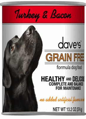 Daves Pet Food Grain Free Turkey and Bacon 12/13oz
