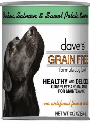 Daves Pet Food Grain Free Chicken, Salmon and Sweet Potato Entree 12/13oz