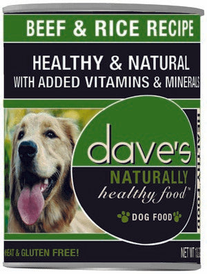 Daves Pet Food Naturally Healthy, Beef and Rice 13.2 oz/ case of 12