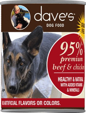 Daves Pet Food Premium Beef & Chicken 95% Meat 13 oz Can - Case of 12
