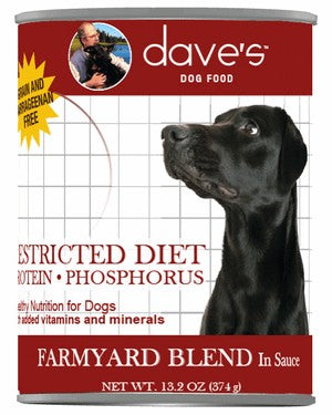 Daves Pet Food Restricted Protein Diet, Farmyard Blend 12/13oz