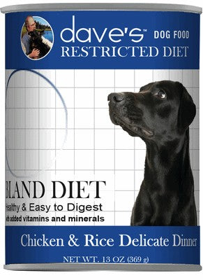 Daves Pet Food Restricted Bland Diet, Chicken & Rice 12/13oz