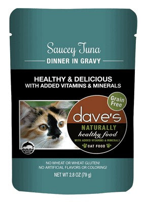 Daves Pet Food Naturally Healthy Pouch, Saucey Tuna Dinner in Gravy 24/2.8oz