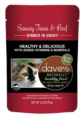 Daves Pet Food Naturally Healthy Pouch, Saucey Tuna & Beef Dinnner in Gravy 24/2.8oz