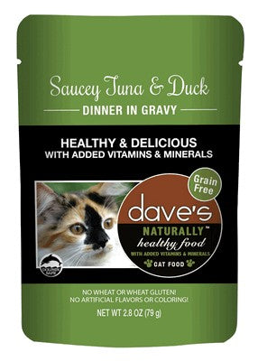 Daves Pet Food Naturally Healthy Pouch, Saucey Tuna and Duck Dinner in Gravy  24/2.8oz