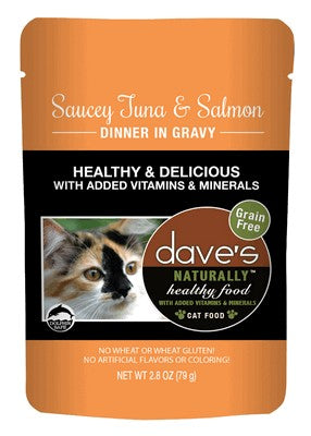 Daves Pet Food Naturally Healthy Pouch, Saucey Tuna and Salmon Dinner in Gravy 24/2.8oz
