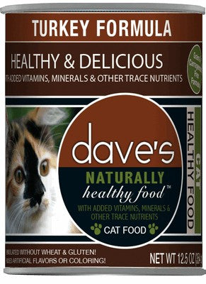 Daves Pet Food Naturally Healthy, Turkey Formula 12/12oz