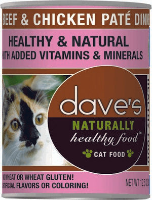 Daves Pet Food Naturally Healthy, Beef & Chicken 12/12oz